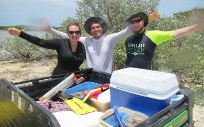 University of Miami students get immersed in carbonate sediments, August 2015
